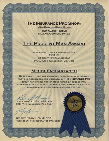 """The Prudent Man Award"""