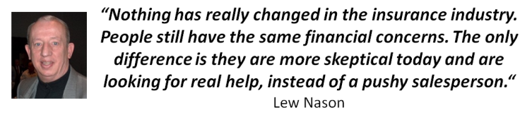 "Lew Nason Quote - ""Nothing has really changed in the insurance industry. People still have the same financial concerns. The only difference is they are more skeptical today and are looking for real help, instead of a pushy salesperson."" Lew Nason"